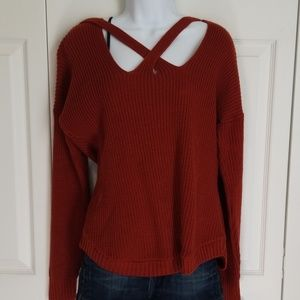 Maurices Rust X-Front Solid Pullover Sweater